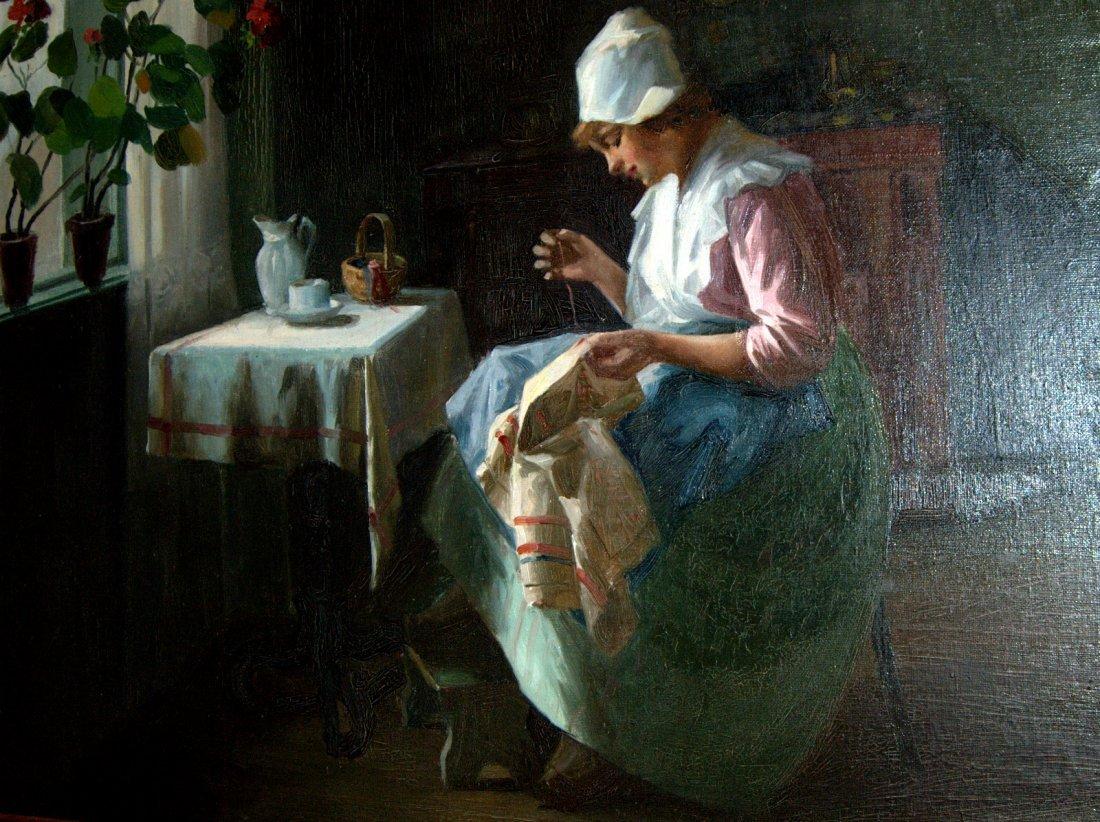 171: Szász István 1878 -1965: Embroidering Girl
