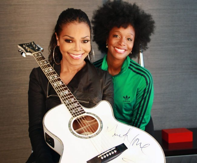 1: Janet Jackson Signed Electric Acoustic Guitar