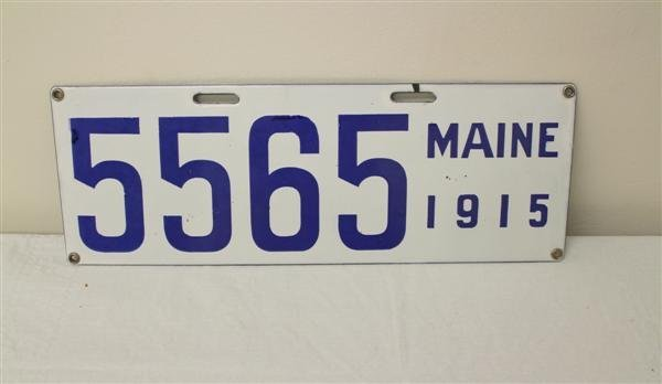 14: 1915 Maine Porcelain License Plate