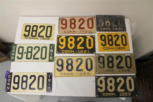 16: Collection of CT License Plates 1917-1928