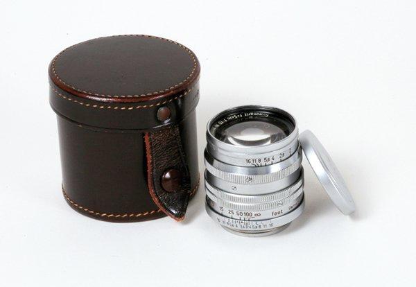 359: 50mm Summarit f1,5 Nr. 801607 with front cap, case