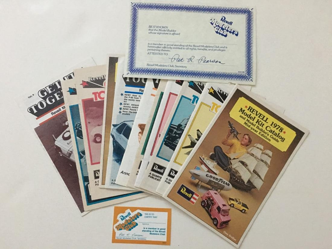 REVELL MODELERS CLUB CERTIFICATE AND MAGAZINES