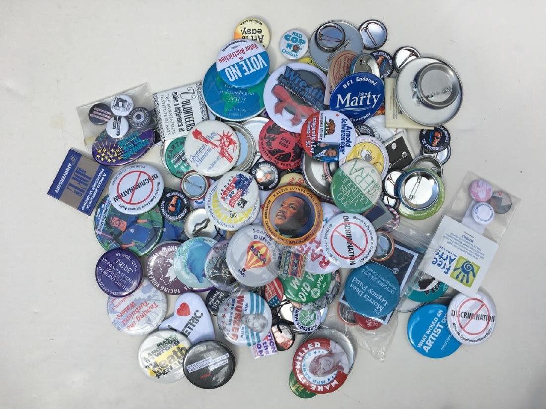 POLITICAL / SOCIAL BUTTON COLLECTION FROM AROUND THE
