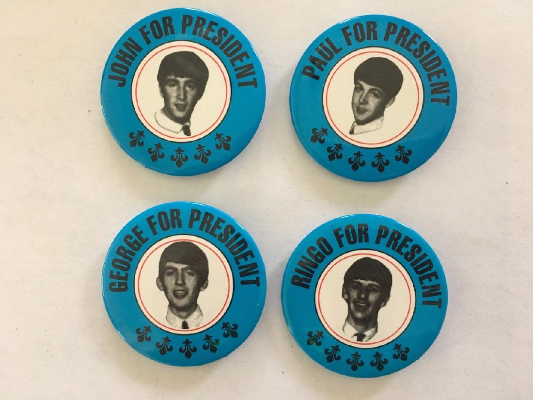 RARE COLLECTION OF ALL 4 BEATLES FOR PRESIDENT BUTTONS