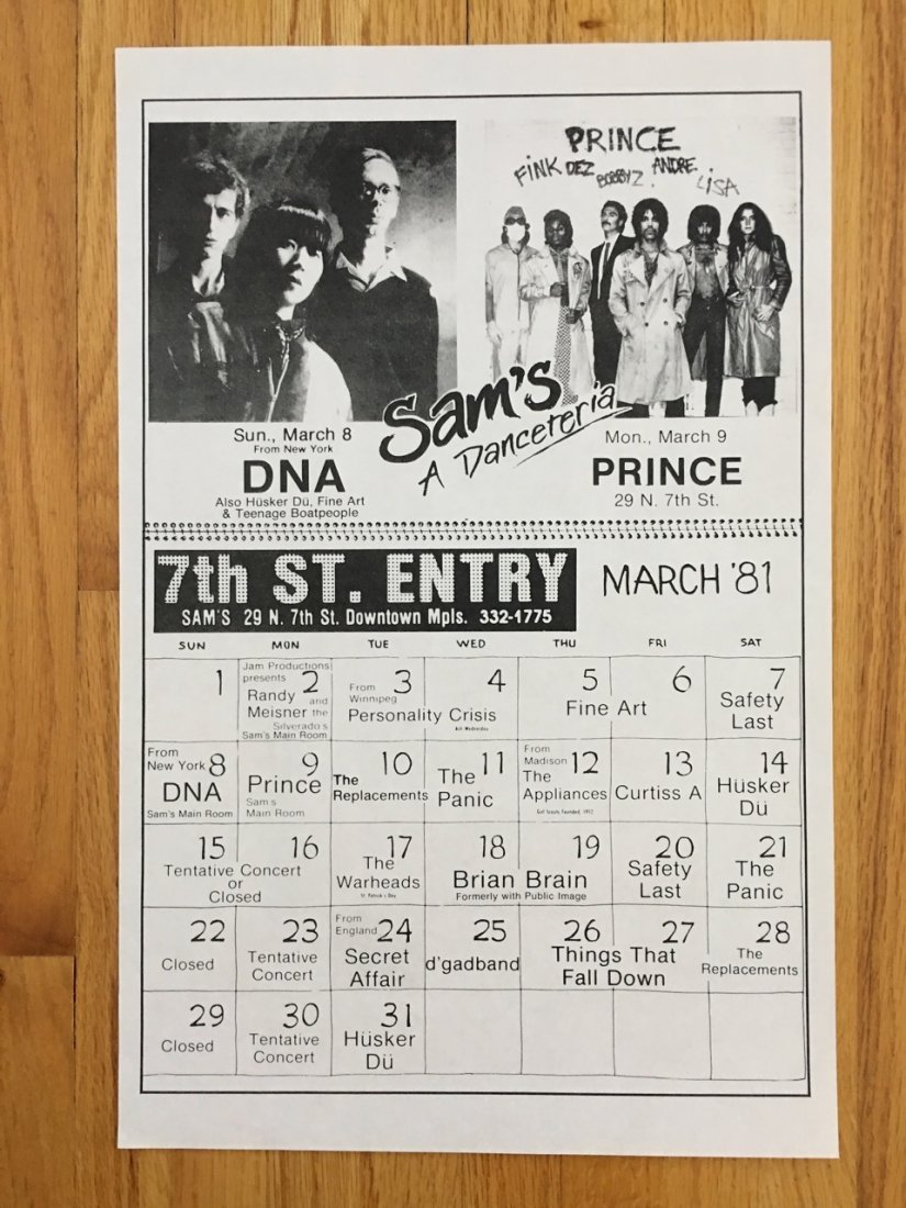 RARE ! PRINCE IN CONCERT FIRST AVE CALENDAR FLYER