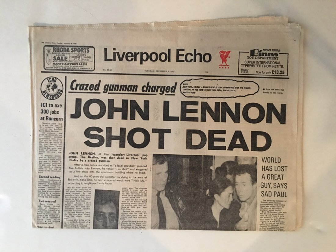 RARE - JOHN LENNON SHOT DEAD - LIVERPOOL NEWS - 12-9-80