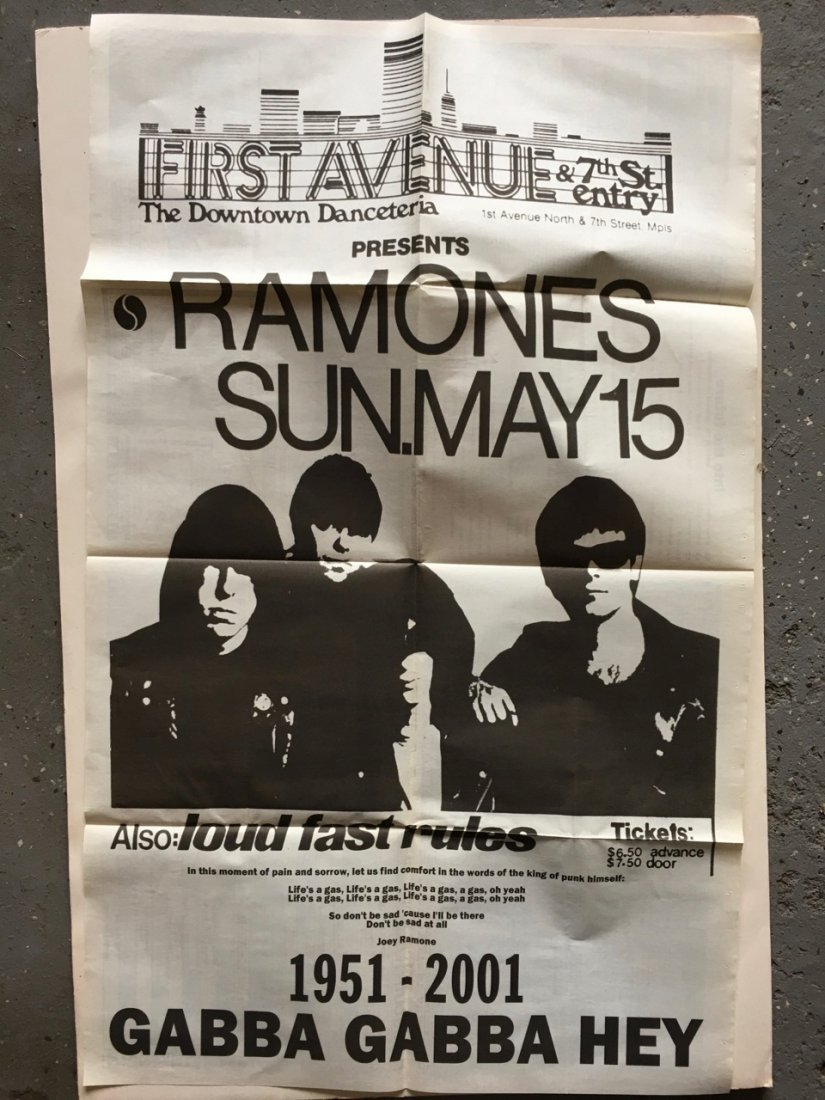 THE RAMONES at FIRST AVE IN MINNEAPOLIS