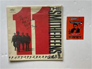 THE SMITHEREENS SIGNED ALBUM COVER AND POSTCARD
