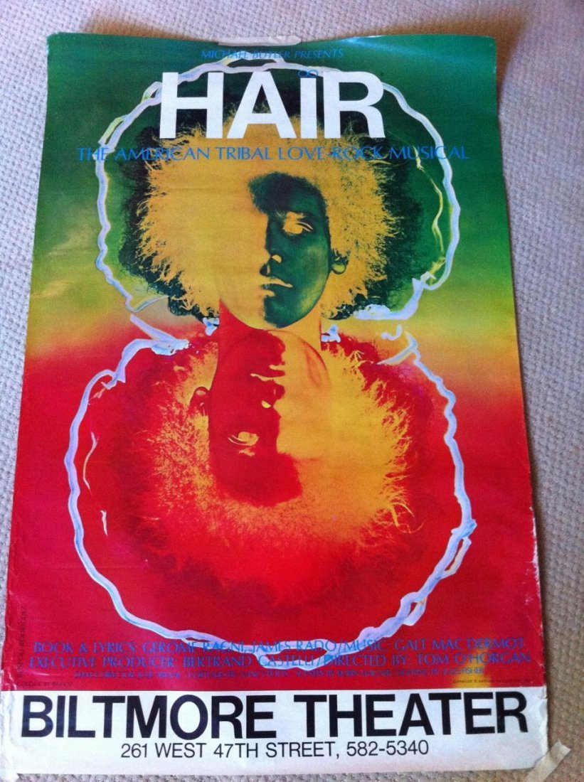 118: HAIR - Rare and original 1968 One Sheet