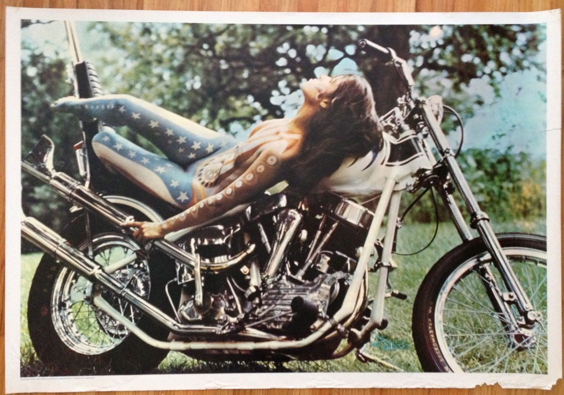 404 1960s Biker Chick Hippy Poster