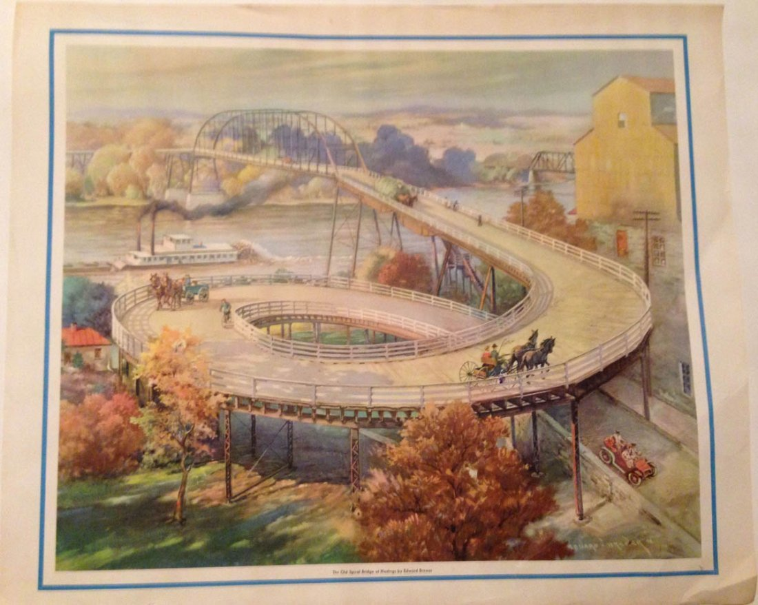 HASTINGS SPIRAL BRIDGE LITHO POSTER