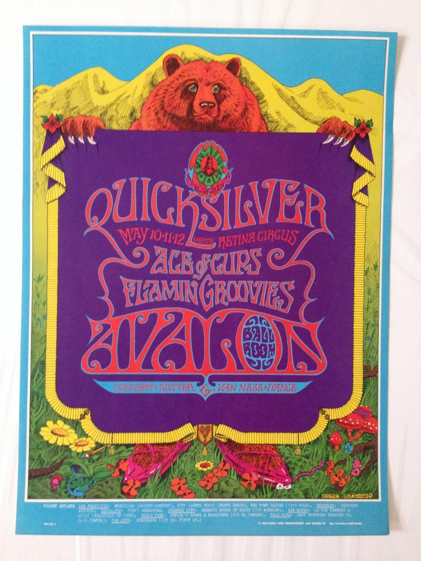 QUICKSILVER and ACE OF CUPS AVALON POSTER -1968 - FD118