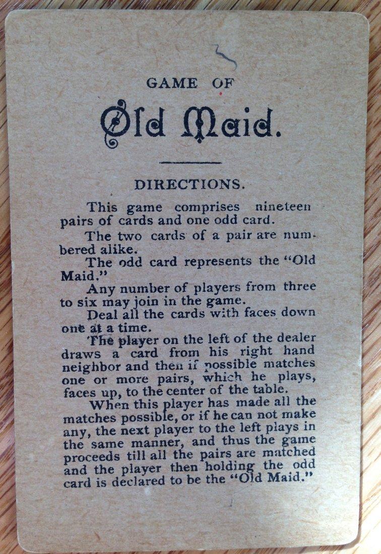 MILTON BRADLEY ANTIQUE CARD GAME OLD MAID - 2