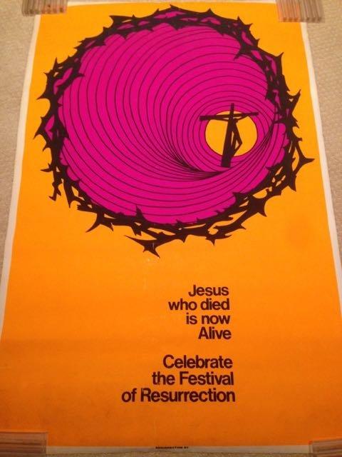 VINTAGE 70'S RESURRECTION OF JESUS BLACKLIGHT POSTER