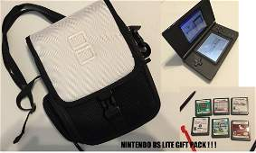 NINTENDO DS LITE GIFT PACK WITH 6 GAMES AND CARRY CASE