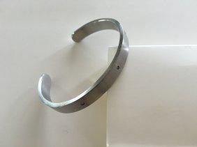 3-diamond Studded Mens Stainless Steel Bracelet
