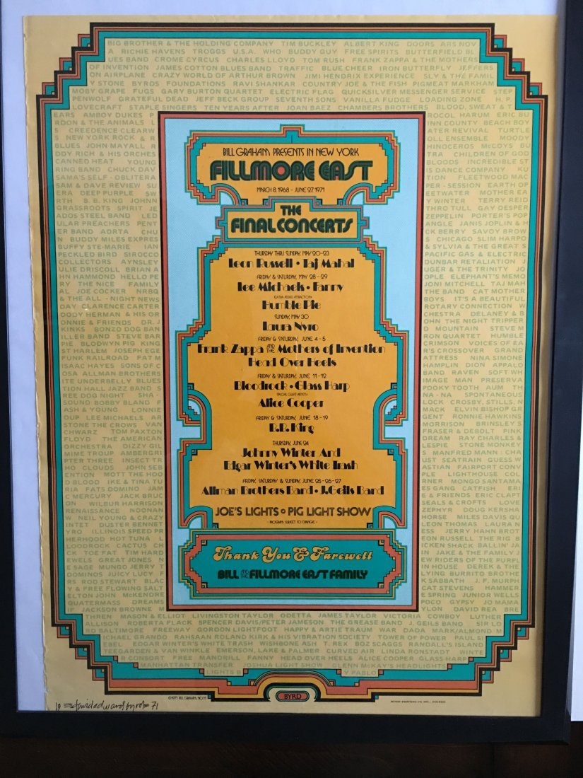 FILLMORE EAST FINAL CONCERT CLOSING POSTER