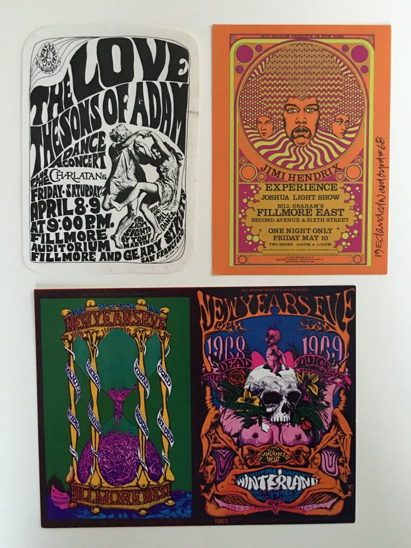 COLLECTION OF 3 VINTAGE FILLMORE POSTCARDS & HANDBILLS