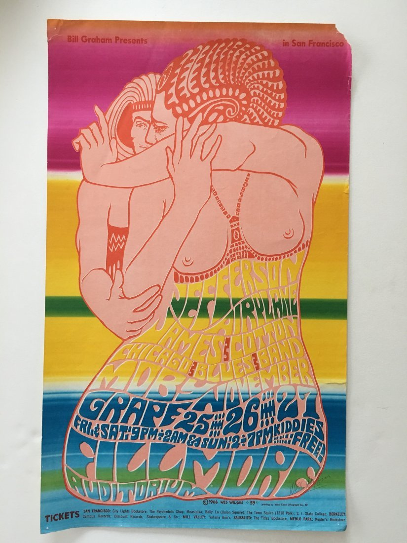JEFFERSON AIRPLANE POSTER BG-39 - SIGNED WES WILSON