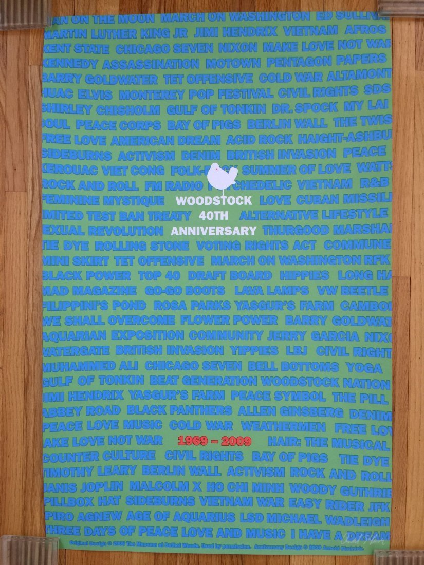 ORIGINAL A/P WOODSTOCK 40TH ANNIVERSARY POSTER - SIGNED