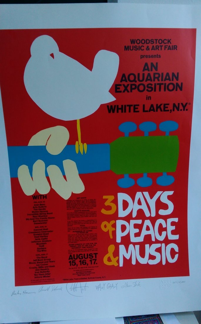 GRACE SLICK - SIGNED WOODSTOCK POSTER - AND MORE !