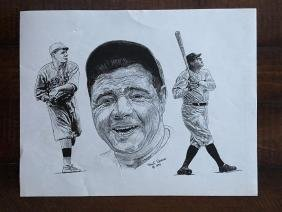 BABE RUTH - SKETCHED