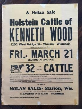 WISCONSIN CATTLE AUCTION POSTER