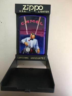 ZIPPO LIGHTER WITH JOE CAMEL CIGARETTE ADVERTISING