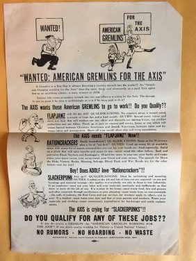 1943 WAR FLYER - Wanted: American Gremlins for the Axis