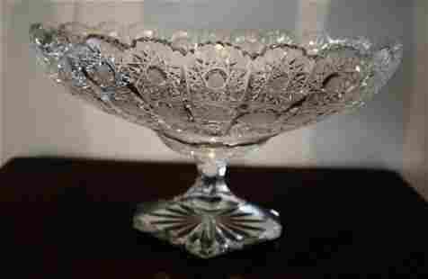 """American Brilliant Rare 12"""" Oval Bowl ca1890 Hawkes?"""