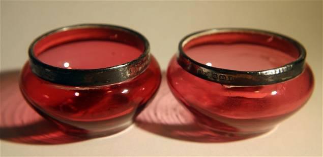 Pr. Edwardian Cranberry & Sterling Salts ca1911