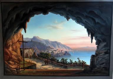 CARLO GATTI Stunning Gouache Amalfi Coast c1890 Listed