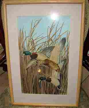 Watercolor by ARTHUR DAVENPORT FULLER Ducks in Flig