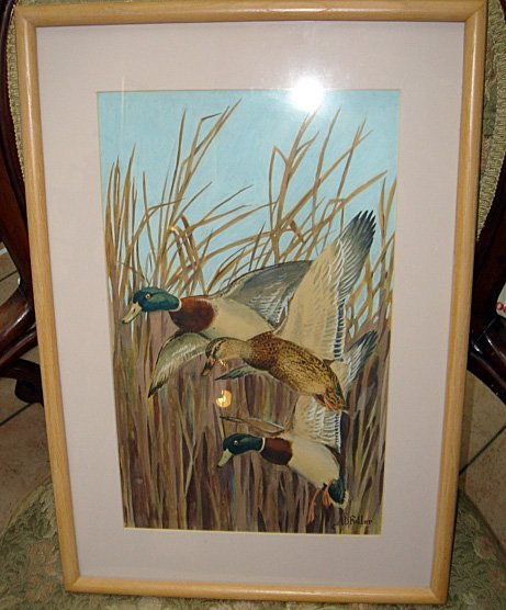 15: Watercolor by ARTHUR DAVENPORT FULLER Ducks in Flig