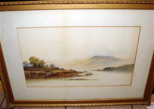 Watercolor by E. H. HERRING ca1870 Fly Fishing