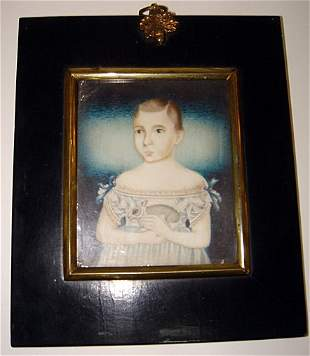 C18th Miniature Painting on Ivory Child & Rabbit