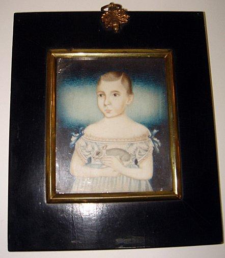 21: C18th Miniature Painting on Ivory Child & Rabbit