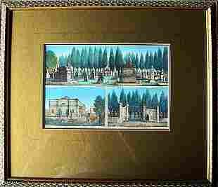 Set 3 x Rare Aquatint by Carlo Verico Italy ca1830