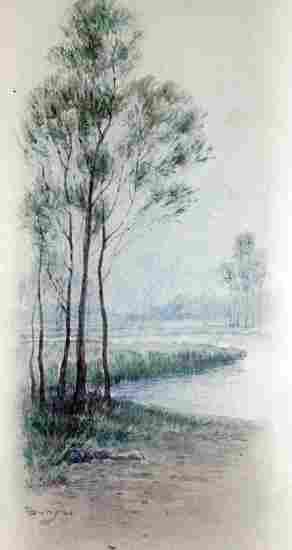 Important Japanese Watercolor by Loki Bunsai ca1880