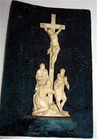 Rare Carved Ivory Crucifixion Scene ca1840