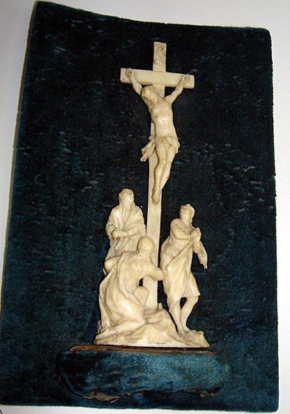 6: Rare Carved Ivory Crucifixion Scene ca1840