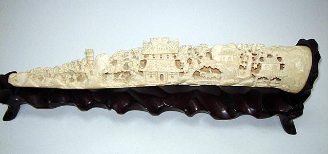 4: Carved Chinese Ivory Tusk ca1930 Village Scene