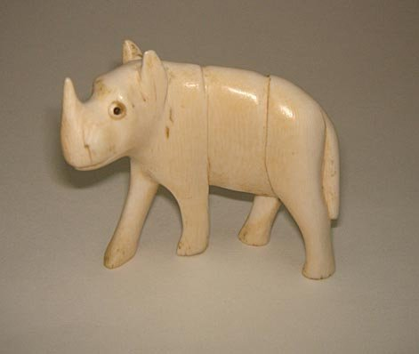 """7: Charming 2.5"""" Carved Ivory Rhinocerous Africa"""