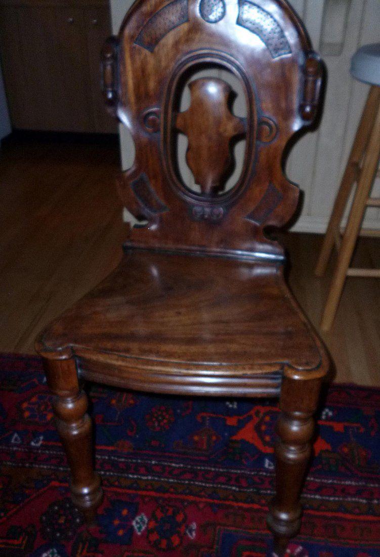 Irish Georgian Mahogany Crest Back Hall Chair ca18