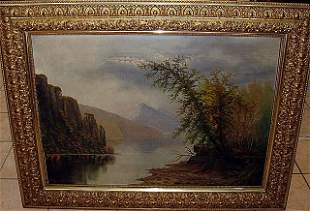 Large Hudson River Oil Painting by Minnie Osbourne