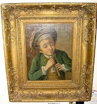 Framed Chardin School Oil Board Flute Player ca1790