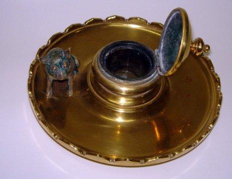 1: Figural Spanish Trench Art Brass Inkwell ca1930
