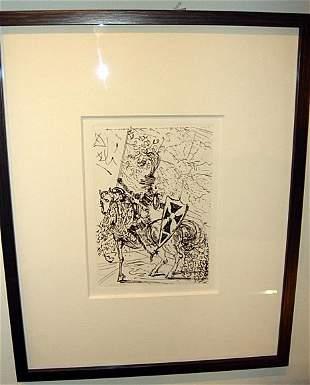 Salvador Dali Restrike Engraving El Cid With Cert.