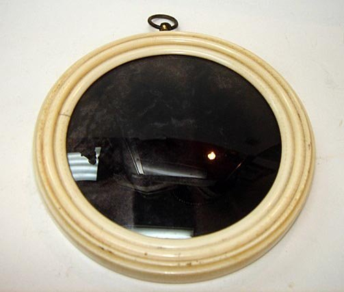 """9: An Ivory 5"""" Bubble Glass Picture Frame ca1900"""