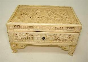 Beautiful Chinese Ivory Carved Dragon Casket ca1890